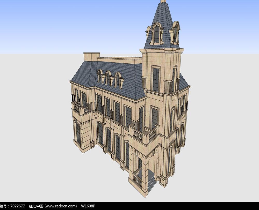 原创设计稿 3d模型库 建筑 法式古堡别墅  请您分享: 素材描述:红动网