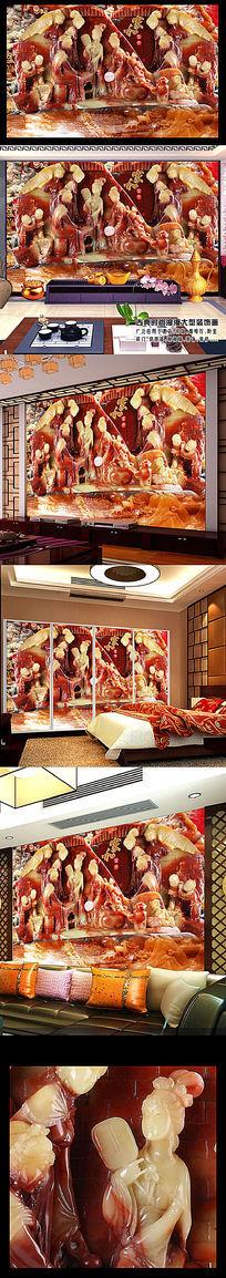 高端玉雕古典美女图壁画客厅电视背景墙