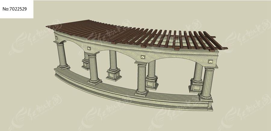 欧式长廊skp素材下载_构筑物设计图片