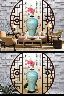 青花瓷花瓶国画3D电视背景墙