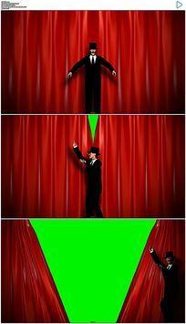 三维魔术师拉开幕布绿屏抠像视频素材
