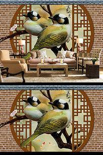 玉雕喜鹊砖墙3D电视背景墙