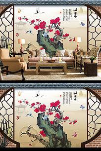 中国风梅花3D电视背景墙