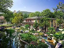 别墅花园景观设计效果图 PSD