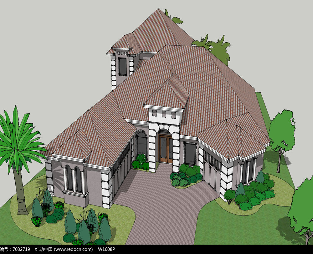 原创设计稿 3d模型库 建筑 多边形连体别墅