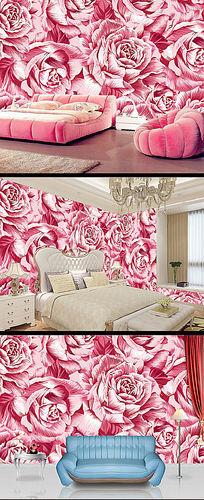 粉红牡丹电视背景墙
