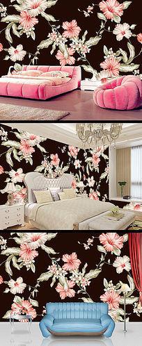 高清漂亮大方花朵卧室背景墙