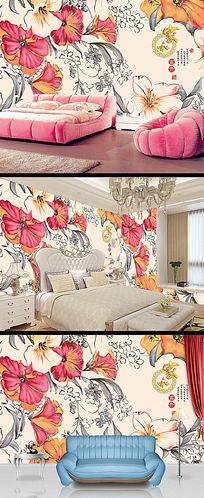 高清手绘花卉背景墙