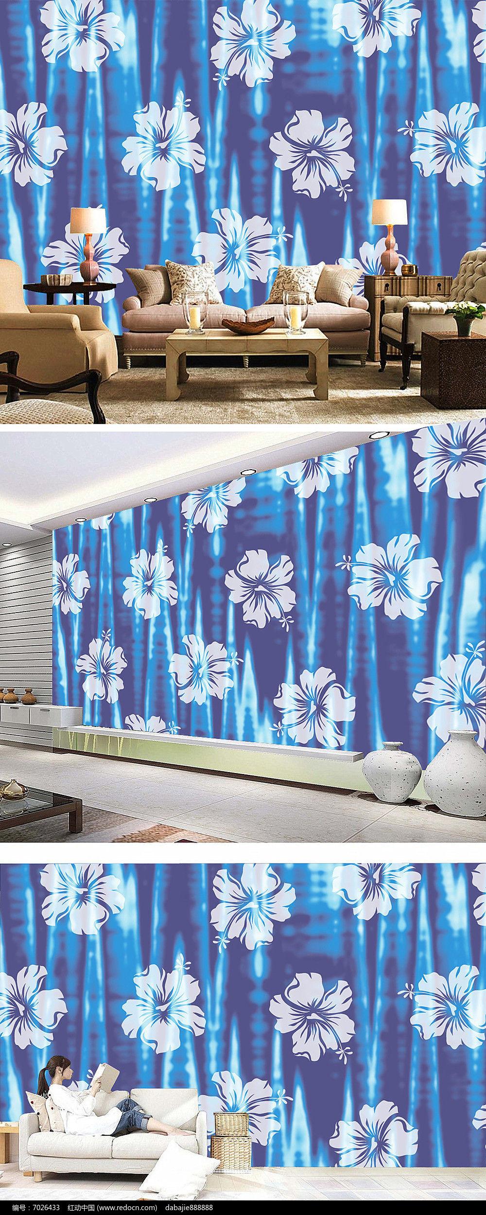 蓝色欧式花朵墙纸