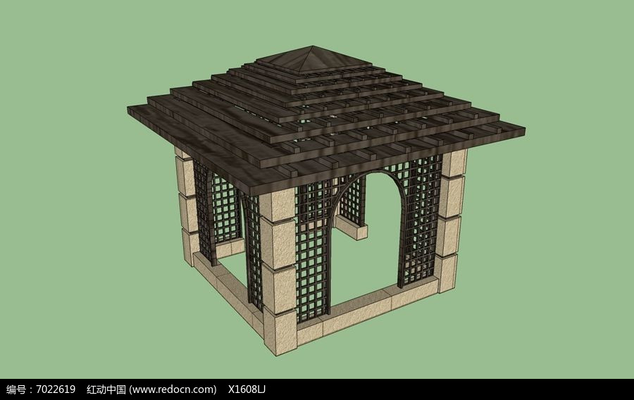 中式木质叠顶四角亭