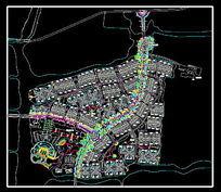 别墅区道路绿化配置图