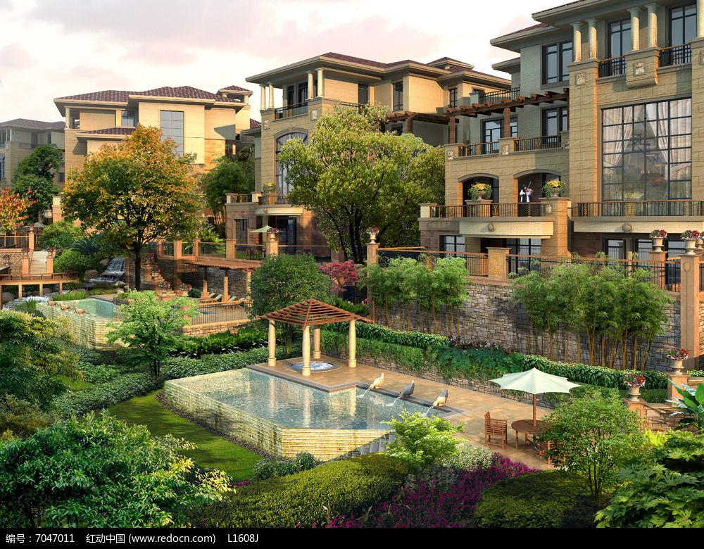 别墅庭院景观PSD图片