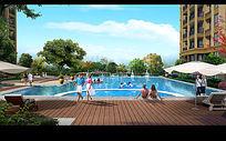 高档小区游泳池效果图 PSD