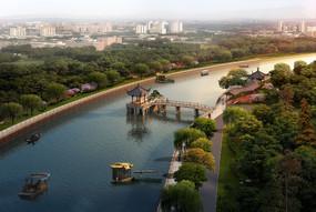 河滨景观半鸟瞰图