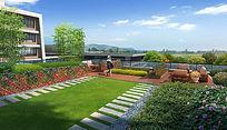 某建筑屋顶景观效果图 PSD