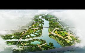 生态滨水休闲景观鸟瞰