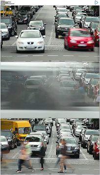 十字路口人流车流实拍视频素材