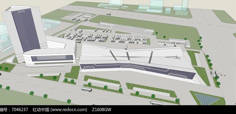 汽车站前广场手绘图平面图