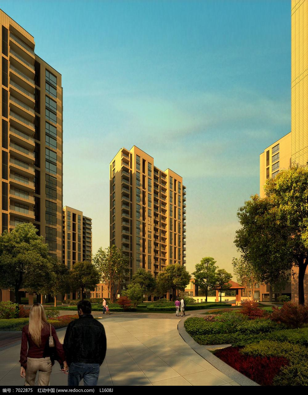 现代小区建筑psd素材下载_住宅区设计图片图片