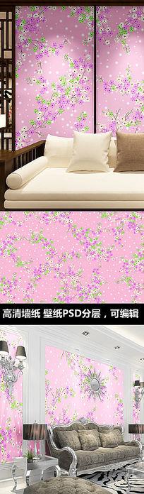 粉红梅花墙纸