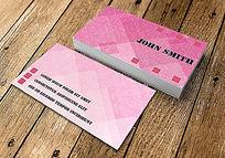 粉色暗纹高档名片设计