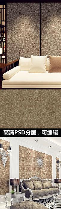 复古花纹墙纸壁纸 PSD