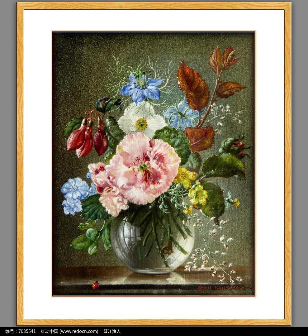 高清古典欧式油画花卉psd素材下载