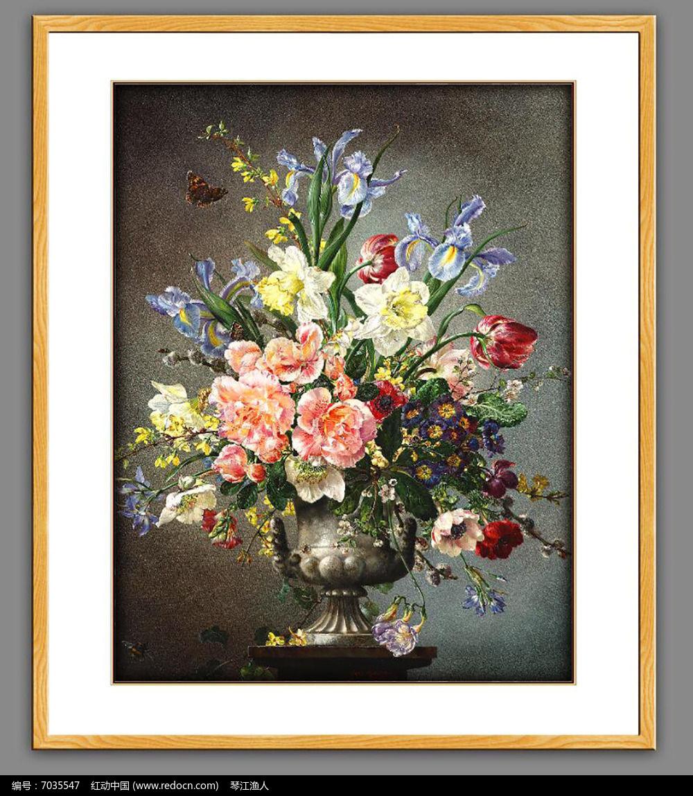 高清欧式古典花卉油画