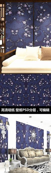 古典花纹玫瑰花墙纸 PSD