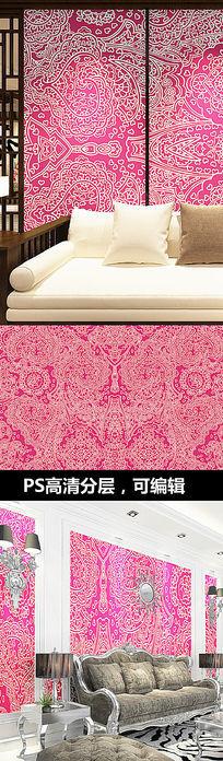 红色花纹墙纸壁纸