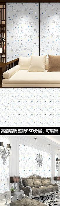 简约花卉花纹墙纸 PSD