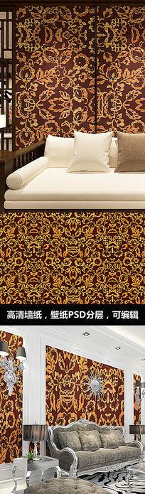 金色花纹墙纸壁纸