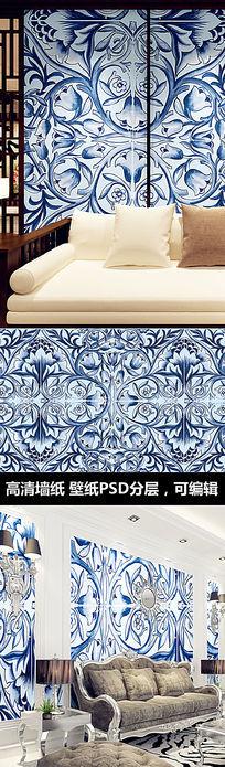 青花瓷花纹墙纸