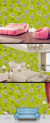 清新绿色花纹墙纸壁纸