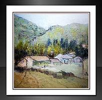 山村的秋天装饰画刀画