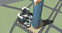 商业综合概念建筑模型