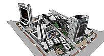 现代风综合体建筑建筑模型