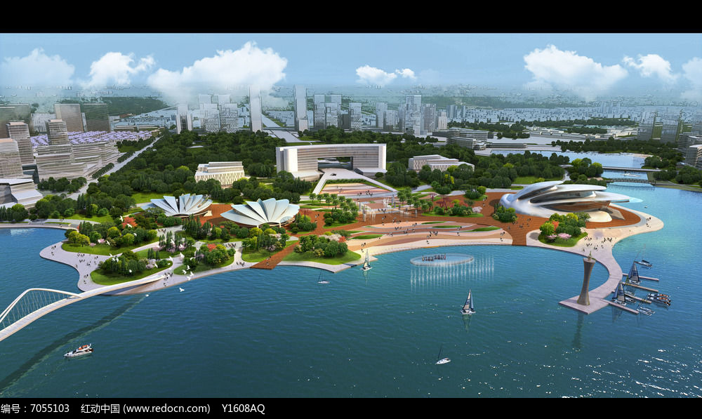 现代时尚滨水景观效果图图片