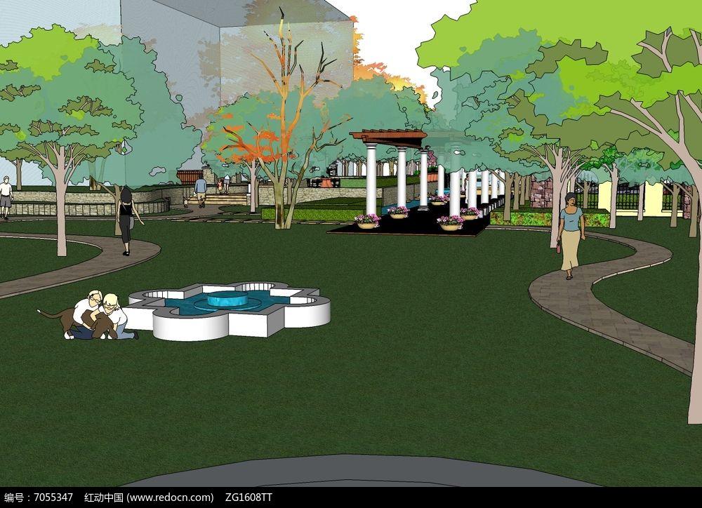 小区廊架公园景观模型