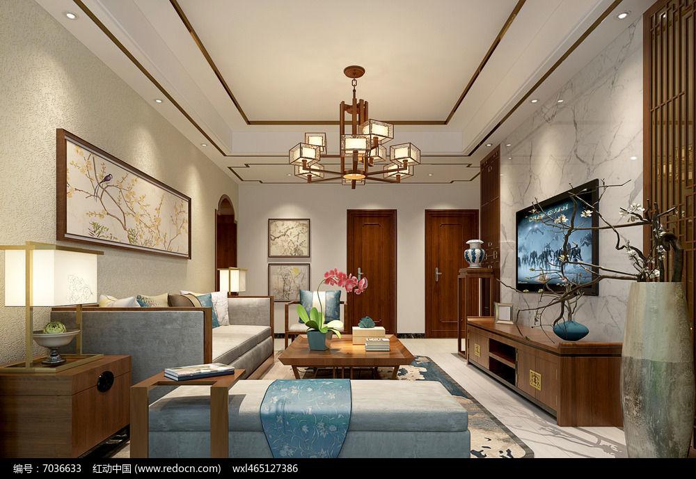 新中式客厅素材下载_室内装修设计图片