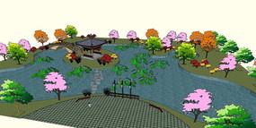 中式游园庭院景观模型