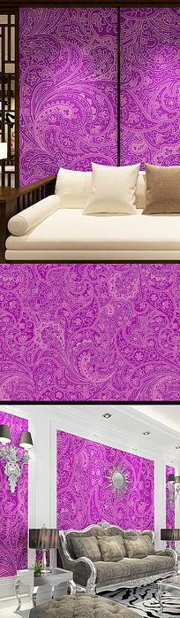 紫色欧式花纹墙纸壁纸