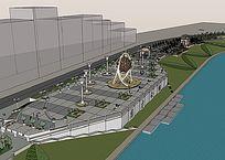 滨水休闲广场景观模型