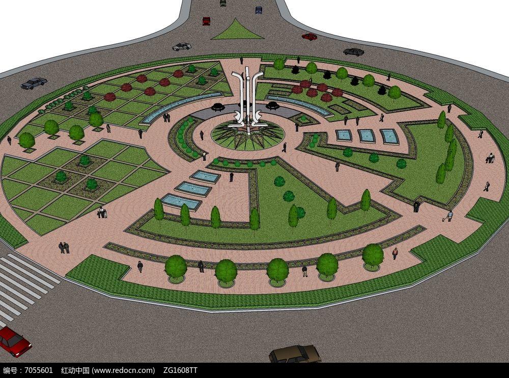 城市交通绿地圆形广场景观模型图片
