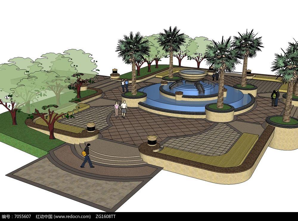 简欧方形小广场景观模型