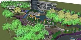 某商业区周边绿地休闲活动公园模型