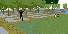 新中式公园场景模型