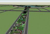 沿河公园景观模型