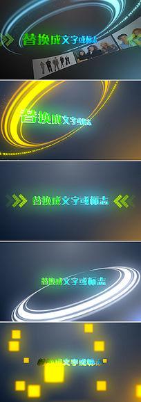 5个简洁粒子光线企业logo开场片头ae模板