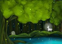 创意森林鹿插画设计
